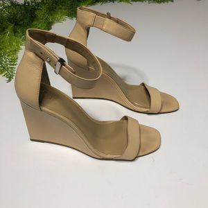 Ann Taylor Nude Block Wedge Heels